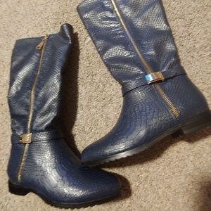 Blue Leather snakeskin print knee high boots